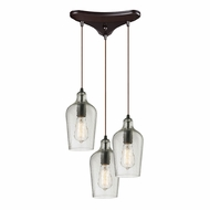 ELK 10331-3CLR Hammered Glass Modern Oil Rubbed Bronze Multi Hanging Lamp