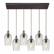 ELK 10331-6RC-CLR Hammered Glass Modern Oil Rubbed Bronze Multi Drop Ceiling Light Fixture