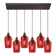 ELK 10331-6RC-HRD Hammered Glass Contemporary Oil Rubbed Bronze Multi Pendant Light