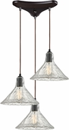 ELK 10435-3 Hand Formed Glass Contemporary Oil Rubbed Bronze Multi Hanging Pendant Lighting