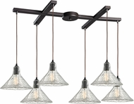 ELK 10435-6 Hand Formed Glass Contemporary Oil Rubbed Bronze Multi Pendant Hanging Light