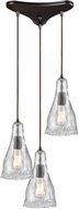 ELK 10446-3 Hand-Formed Glass Contemporary Oil Rubbed Bronze Multi Pendant Lamp