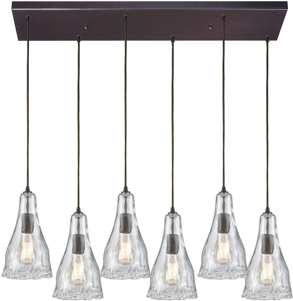 Elk 10446 6rc Hand Formed Gl Contemporary Oil Rubbed Bronze Multi Pendant Lighting Fixture