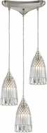 ELK 10458-3 Kersey Contemporary Satin Nickel Multi Hanging Pendant Lighting