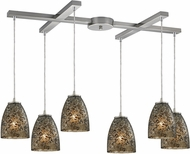 ELK 10465-6BRF Fissure Contemporary Satin Nickel Multi Lighting Pendant