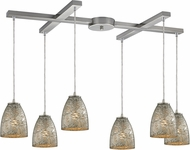 ELK 10465-6SVF Fissure Modern Satin Nickel Multi Hanging Light