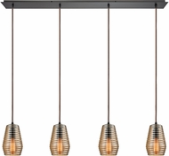 ELK 10533-4LP Ribbed Glass Contemporary Oil Rubbed Bronze Multi Hanging Pendant Lighting