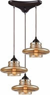 ELK 10535-3 Orbital Contemporary Oil Rubbed Bronze Multi Pendant Hanging Light