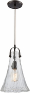 ELK 10555-1 Hand-Formed Glass Contemporary Oil Rubbed Bronze Mini Hanging Pendant Light