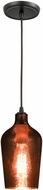 ELK 10571-1 Hammered Glass Contemporary Oil Rubbed Bronze Mini Ceiling Pendant Light