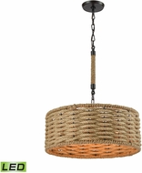 ELK 10711-3-LED Weaverton Oil Rubbed Bronze LED Drum Hanging Pendant Light