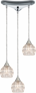 ELK 10824-3 Kersey Polished Chrome Halogen Multi Hanging Pendant Lighting