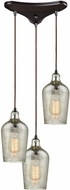 ELK 10830-3 Hammered Glass Modern Oil Rubbed Bronze Multi Pendant Lamp