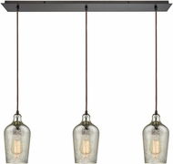 ELK 10830-3LP Hammered Glass Modern Oil Rubbed Bronze Multi Hanging Light