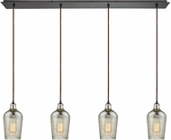 ELK 10830-4LP Hammered Glass Contemporary Oil Rubbed Bronze Multi Pendant Light Fixture