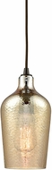 ELK 10840-1 Hammered Glass Contemporary Oil Rubbed Bronze Mini Hanging Pendant Lighting