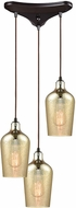 ELK 10840-3 Hammered Glass Modern Oil Rubbed Bronze Multi Hanging Pendant Light