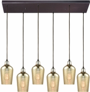 ELK 10840-6RC Hammered Glass Modern Oil Rubbed Bronze Multi Drop Ceiling Lighting