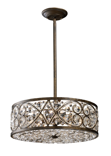 Elk 112876 Amherst Medium Wrought Iron Pendant Light With Crystal Accents Loading Zoom