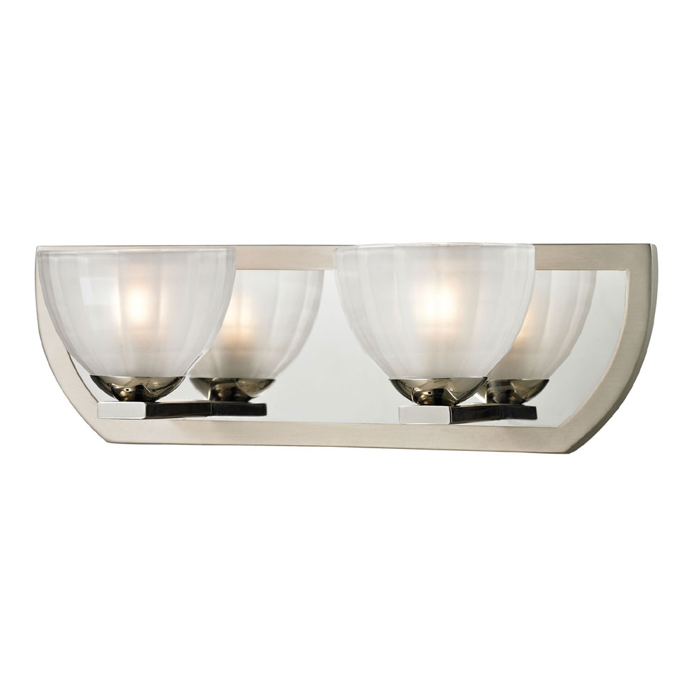 Elk 11596 2 Sculptive Modern Polished Nickel Matte Halogen Light Bathroom Loading Zoom