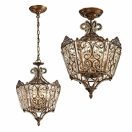 ELK 11720-6 Villegosa Spanish Bronze Flush Ceiling Light Fixture / Hanging Lamp