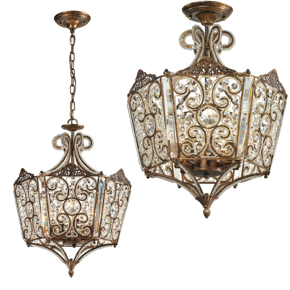 ELK 11721-8 Villegosa Spanish Bronze Flush Mount Ceiling Light ...