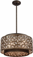 ELK 12153-5 Rosslyn Mocha / Deep Bronze 17  Drum Pendant Lighting