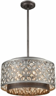 ELK 12163-5 Rosslyn Weathered Zinc / Matte Silver 17  Drum Pendant Lamp