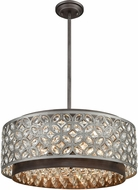 ELK 12164-6 Rosslyn Weathered Zinc / Matte Silver 22  Drum Hanging Lamp