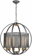 ELK 12171-6 Ellicott Modern Weathered Zinc / Satin Brass Hanging Light