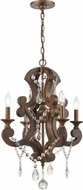 ELK 12255-4 San Sebastian Traditional Spanish Antiquewood / Dark Bronze Mini Chandelier Light
