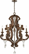 ELK 12256-6 San Sebastian Traditional Spanish Antiquewood / Dark Bronze Chandelier Lighting