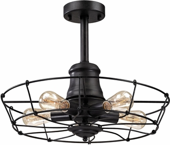 ELK 14259-5 Glendora Wrought Iron Black Ceiling Light