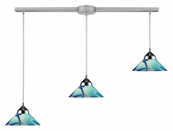 ELK 1477/3L-CAR Refraction Polished Chrome Linear 3 Lamp Multi Pendant Light With Carribean Glass