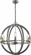 ELK 15234-6 Riveted Plate Contemporary Silverdust Iron / Polished Nickel Hanging Light