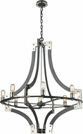 ELK 15237-8 Riveted Plate Contemporary Silverdust Iron / Polished Nickel 36 Chandelier Lighting