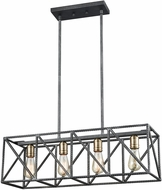ELK 15253-4 Crossbar Modern Silverdust Iron / Satin Brass Island Light Fixture