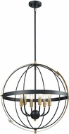 ELK 15286-6 Caldwell Modern Matte Black / Satin Brass 24  Drop Ceiling Lighting