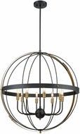 ELK 15287-8 Caldwell Contemporary Matte Black / Satin Brass 32  Ceiling Light Pendant
