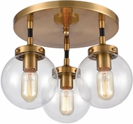 ELK 15342-3 Boudreaux Contemporary Matte Black / Antique Gold Flush Ceiling Light Fixture