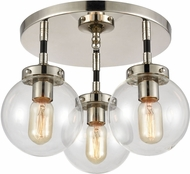 ELK 15352-3 Boudreaux Modern Matte Black / Polished Nickel Flush Mount Ceiling Light Fixture