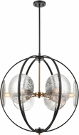 ELK 15426-6 Oriah Contemporary Matte Black / Satin Brass 28  Drop Lighting