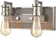 ELK 15492-2 Gridiron Contemporary Weathered Zinc / Polished Nickel 2-Light Bath Lighting Fixture