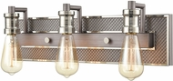 ELK 15493-3 Gridiron Contemporary Weathered Zinc / Polished Nickel 3-Light Bathroom Light Fixture