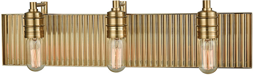 ELK 15942-3 Corrugated Steel Modern Satin Brass 3-Light Bath Sconce ...