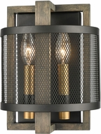 ELK 16541-2 Woodbridge Modern Matte Black / Weathered Oak / Aged Brass Wall Lighting Sconce