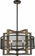 ELK 16547-5 Woodbridge Contemporary Matte Black / Weathered Oak / Aged Brass Pendant Lighting