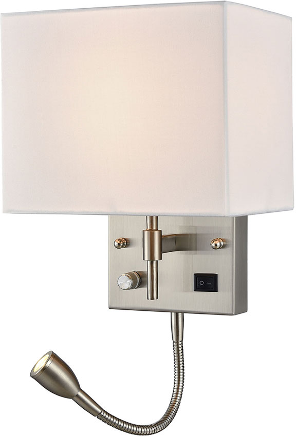 Elk 17157 2 Sconces Contemporary Satin Nickel Led Wall Sconce Lighting W Reading Loading Zoom