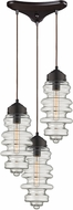 ELK 17205-3 Cipher Contemporary Oil Rubbed Bronze Multi Pendant Light Fixture