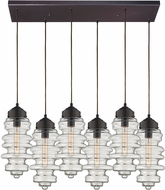 ELK 17205-6RC Cipher Modern Oil Rubbed Bronze Multi Hanging Pendant Light